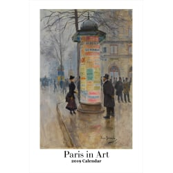 "Retrospect Monthly Wall Calendar, Paris In Art, 19-1/4"" x 12-1/2"", Multicolor, January to December 2019"