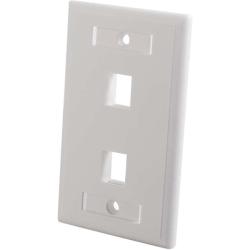 C2G Two Port Keystone Single Gang Wall Plate - White - 2 x Socket(s) - 1-gang - White