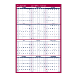 """AT-A-GLANCE® Reversible/Erasable Wall Calendar, 36"""" x 24"""", Red/Black/White, January To December 2021, PM26B28"""