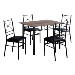 """Monarch Specialties 43""""W Rectangular Table With 4 Chairs, Dark Taupe/Black"""