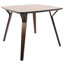Lumisource Folia Mid-Century Modern Dining Table, Square, Walnut