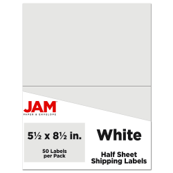 """JAM Paper® Half-Page Mailing And Shipping Labels, 5-1/2"""" x 8-1/2"""", White, Pack Of 50 Labels"""