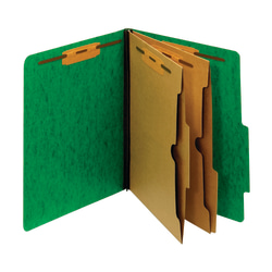 "Pendaflex® Color Moisture-Resistant 6-Fastener Classification Folders, 2"" Expansion, Letter Size, Dark Green, Box Of 10 Folders"