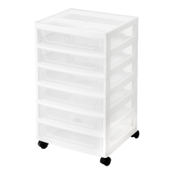 "IRIS 6-Drawer Scrapbook Cart, 26-3/4""H x 15-7/8""W x 14-1/4""D, White"