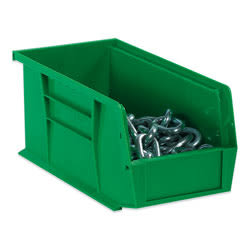 "B O X Packaging Plastic Stackable Bin Boxes, 7 3/8"" x 4 1/8"" x 3"", Green, Case Of 24"