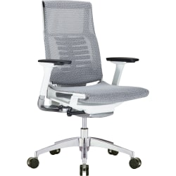 Raynor® Powerfit Ergonomic Mesh Mid-Back Executive Chair, Gray/White