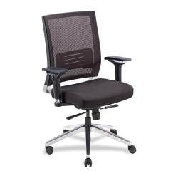 Lorell® Executive Multifunction Mesh/Fabric Swivel Chair, Black