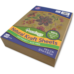 "Ecology Natural Kraft Sheets - Drawing, Project, Art, Craft Project, Decoration - 500 Piece(s) - 2.10"" x 9""12"" - 500 / Ream - Natural - Kraft"
