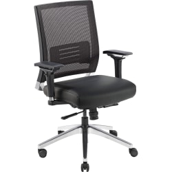 Lorell® Executive Multifunction Mesh/Bonded Leather Swivel Chair, Black