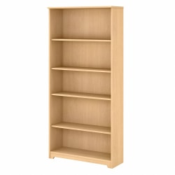 Bush Furniture Cabot 5-Shelf Bookcase, Natural Maple, Standard Delivery