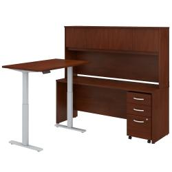 "Bush Business Furniture Studio C 72""W x 24""D L-Shaped Desk With Hutch, 48""W Height-Adjustable Return And Storage, Hansen Cherry, Premium Installation"