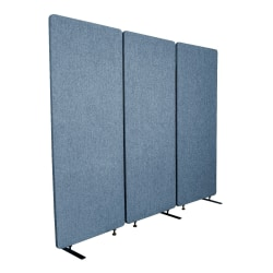 """Luxor RECLAIM Acoustic Privacy Panel Room Dividers, 66""""H x 24""""W, Pacific Blue, Pack Of 3 Room Dividers"""