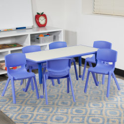 "Flash Furniture Plastic Height-Adjustable Activity Table with 6 Chairs, 23-1/2""H x 23-5/8''W x 47-1/4''D, Blue"
