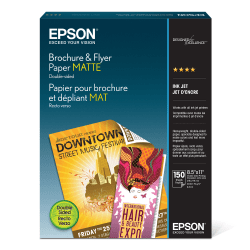 "Epson® Brochure & Flyer Paper, Matte, Double-Sided, Letter Size (8 1/2"" x 11""), Pack Of 150 Sheets"