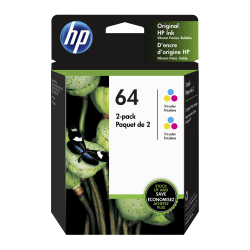 HP 64 Tri-Color Ink Cartridges (6ZA55AN), Pack Of 2 Cartridges