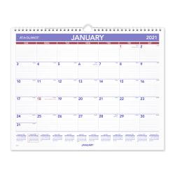 "AT-A-GLANCE® Monthly Wall Calendar, 15"" x 12"", January To December 2021, PM828"