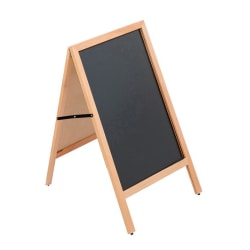 """Azar Displays 2-Sided A-Frame Chalkboard, 30 3/4"""" x 23 1/2"""", Oak Wood Frame"""