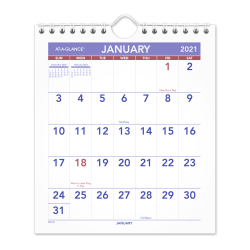 "AT-A-GLANCE® Monthly Desk/Wall Calendar,  6"" x 7"", January To December 2021, PM52821"