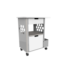 "Safco® Focal™ Plastic Rolling 2-Drawer Storage Cart, 33 1/2"" x 28"" x 20"", Silver"