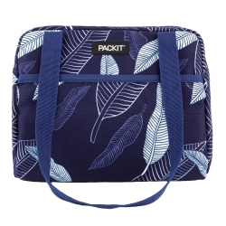 "PackIt® Freezable Hampton Lunch Bag, 8-1/2""H x 10-1/2""W x 7-3/4""D, Navy Leaves"