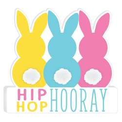 """Amscan Easter Hip Hop Hooray Standing Signs, 8""""H x 8-1/2""""W x 1""""D, Multicolor, Pack Of 2 Signs"""