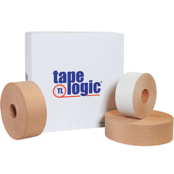 """Tape Logic® Reinforced Water-Activated Packing Tape, #7500, 3"""" Core, 3"""" x 150 Yd., Kraft, Case Of 10"""