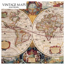 "Retrospect Square Monthly Wall Calendar, Vintage Maps, 12-1/2"" x 12"", Multicolor, January to December 2019"