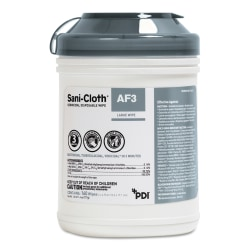 Sani Professional® Sani-Cloth® AF3 Germicidal Disposable Wipes, 11.4 Oz, 160 Sheets Per Canister, Pack Of 12 Canisters