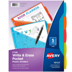 """Avery® Durable Write-On Plastic Dividers With Pockets, 8-1/2"""" x 11"""", Multicolor, Pack Of 5 Dividers"""