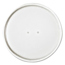 """Dart® Paper Lids For 32-Oz Food Containers, 4 5/8"""", White, 25 Lids Per Bag, Case Of 20 Bags"""