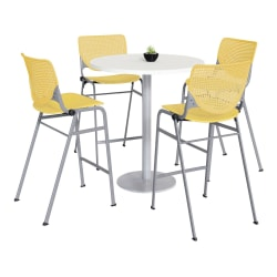 "KFI Studios KOOL Round Pedestal Table With 4 Stacking Chairs, 41""H x 36""D, Designer White/Yellow"