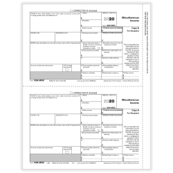 """ComplyRight 1099-MISC Tax Forms, Recipient Copy B, 2-Up, Laser, 8-1/2"""" x 11"""", Pack Of 25 Forms"""