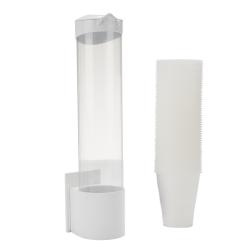 "Mind Reader Plastic Cup Dispenser, 15""H x 3-1/2""W x 3-1/2""D, 7 Oz Cups, White/Silver"