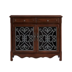 "Powell Balfour 2-Door Console Table, 41""H x 36-1/4""W x 11""D, Cherry"