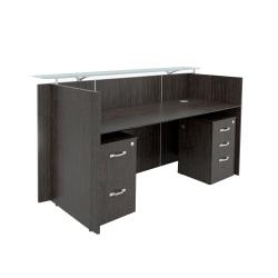 "Forward Furniture Diamond 80""W Double-Pedestal Reception Desk, Appalachian Smoke"