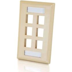 C2G 6-Port Single Gang Multimedia Keystone Wall Plate - Ivory - 6 x Socket(s) - Ivory