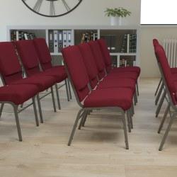 Flash Furniture HERCULES Series Church Chair With Book Rack, Burgundy/Silver Vein