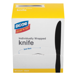 Dixie® Grab'N Go™ Knives, Black, 90 Per Box, Pack Of 6 Boxes