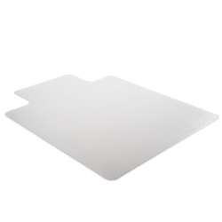 "Deflect-O Earth Source® Chair Mat For Commercial Pile Carpets, Straight Edge, Standard Lip, 36"" x 48"", Clear"