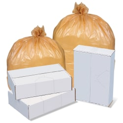 """Inteplast LLDPE Can Liners, 2 mil, 40"""" x 48"""", Buff, Pack Of 125 Liners"""