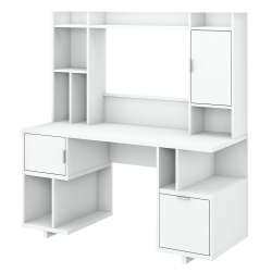 "kathy ireland® Home by Bush Furniture Madison Avenue 60""W Computer Desk With Hutch, Pure White, Standard Delivery"
