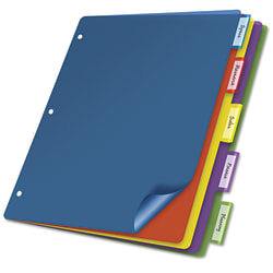 """Cardinal Extra-tough Poly Dividers - 5 Tab(s)/Set - Letter - 8 1/2"""" Width x 11"""" Length - 3 Hole Punched - Polypropylene Divider - Multicolor Tab(s) - 4 / Pack"""
