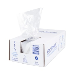 "Inteplast Poly Food Bags, 0.68 mil, 6""H x 3""W x 12""D, Natural, Pack Of 1,000 Bags"
