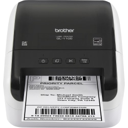 """Brother QL-1100 Direct Thermal Printer - Monochrome - Desktop - Label Print - 4"""" Print Width - 4.33 in/s Mono - 300 dpi - Label, Die-cut Label, Continuous Roll - 4.09"""" Label Width - 36"""" Label Length"""