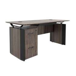 "Forward Furniture Allure 66""W Desk With Center Drawer And 2-Drawer Single Pedestal, Southern Walnut/Black"