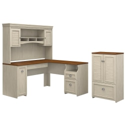 "Bush Furniture Fairview 60""W L Shaped Desk With Hutch And Storage Cabinet With Drawer, Antique White/Tea Maple, Standard Delivery"