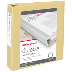 """Office Depot® Brand Durable View Round-Ring Binders, 2"""" Round Rings, Yellow"""