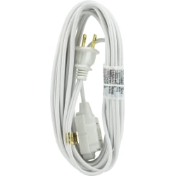 GE 3 Outlet Extension Cord, 15' Long Cord, White