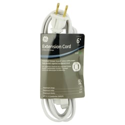 GE 3 Outlet Polarized Extension Cord, 6' Long Cord, White