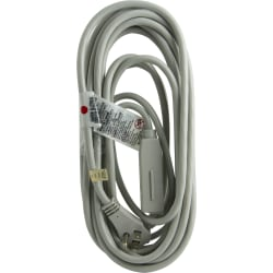 GE 3 Outlet Extension Cord, 25' Long Cord, Flat Plug, Gray, 43025